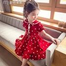 女童洋裝女童連身裙夏裝21新款洋氣兒童韓版公主裙女孩紅色波點雪紡裙子22日 快速出貨