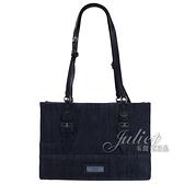 茱麗葉精品【全新現貨】PRADA 1BG122 壓印LOGO單寧布三層兩用包.深藍