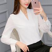 新款韓版修身百搭女裝打底長袖襯衫時尚休閒雪紡衫 青木鋪子