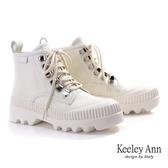 ★2019秋冬★Keeley Ann極簡魅力 個性玩酷厚底綁帶登山靴(白色) -Ann系列