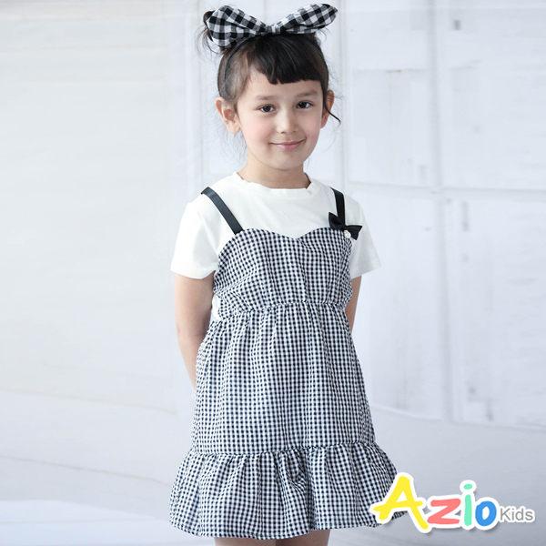 Azio 女童 洋裝 假兩件吊帶拼接格紋短袖洋裝( 白)
