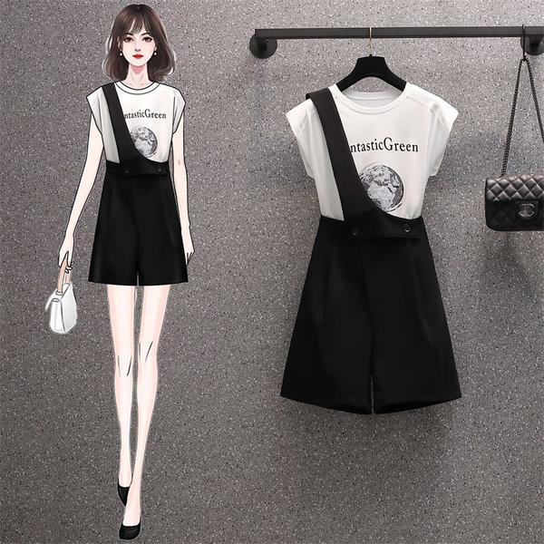 VK精品服飾 韓系大碼印花T恤單肩釦寬口褲套裝短袖褲裝