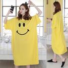 短袖洋裝 夏季韓版大尺碼寬鬆顯瘦長款短袖...