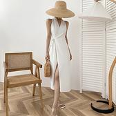 無袖洋裝 2021夏季女裝白色洋裝名媛氣質修身收腰v領無袖掛脖式紅色裙子【快速出貨】