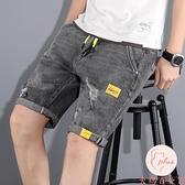 夏季牛仔短褲男外穿五分潮流破洞松緊腰寬松男士5分中褲【大碼百分百】