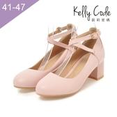大尺碼女鞋-凱莉密碼-氣質名媛風雙帶瑪莉珍粗跟中跟鞋5.5cm(41-47)【HL2-8】粉紅
