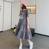 拼接洋裝 大碼T恤裙342韓版寬松大碼中長款過膝連身裙短袖T恤拼接裙N4F-C417 胖妞衣櫥