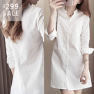 SISI【L9017】現貨春夏新款辦公學生簡約時尚修身立領V領設計素色白長袖中長款襯衫上衣洋裝女