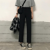 高腰休閒褲女寬鬆新款顯瘦韓版學生黑色西褲九 『洛小仙女鞋』