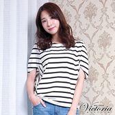 Victoria 條紋拼接變化寬鬆短袖T-女-白底黑條