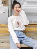學生港風白色長袖t恤女早秋2019新款韓版寬鬆開學季上衣打底衫潮