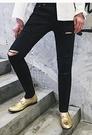 FINDSENSE 品牌 男士牛仔褲  膝蓋破壞修身黑色牛仔褲