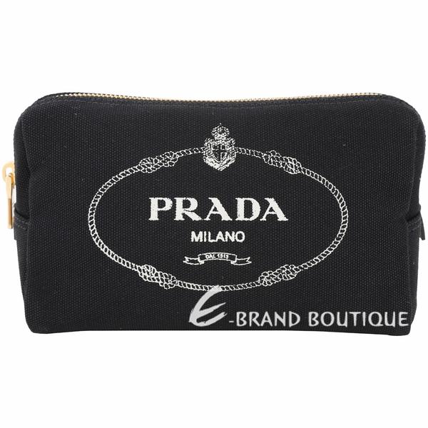 PRADA Canvas 牛仔帆布三角化妝包(黑色) 1920557-01