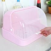 奶瓶收納箱廚房塑料杯子奶瓶瀝水架碗碟架帶蓋收納盒餐具置物架防塵【快速出貨八折下殺】