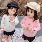禦寒保暖~櫻桃圓領加絨加厚毛衣-2色(300542)【水娃娃時尚童裝】