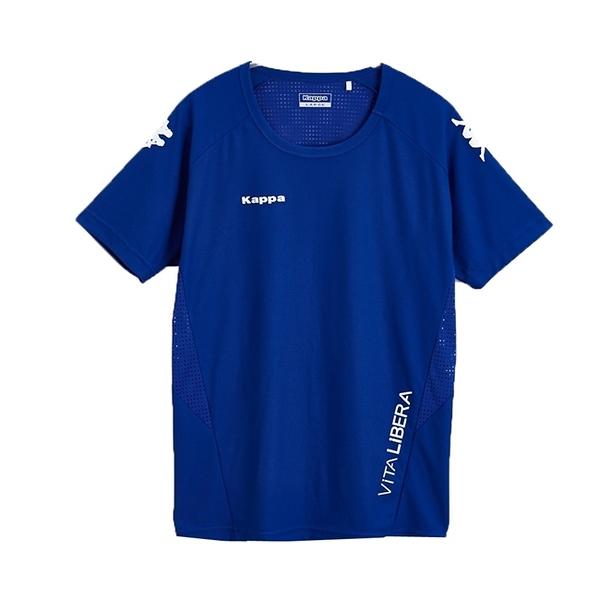 KAPPA義大利型男吸濕排汗速乾KOOL DRY 彩色圓領衫 合身版 科技藍