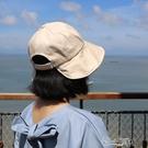 可扎馬尾絲棉半圓形遮臉漁夫帽 帽 百搭布帽防曬帽 小城驛站