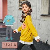 女童套裝 字母笑臉假兩件毛衣+內搭褲 兩件式 韓國外貿中大童 QB allshine