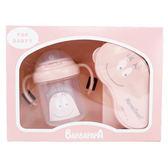 日本製 BARBAPAPA幼兒禮盒  彌月禮盒 離乳食器 水杯  粉色 日本代購 (呼呼熊)