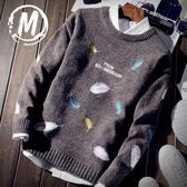 毛衣秋冬季保暖學生韓版潮流個性寬鬆圓領厚款外套毛衣男士上衣針織衫 雲朵走走