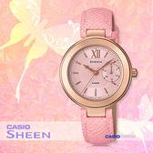 CASIO 卡西歐 SHEEN手錶專賣店 SHE-3051PGL-4A 女錶 皮革錶帶  防水  粉紅金色離子