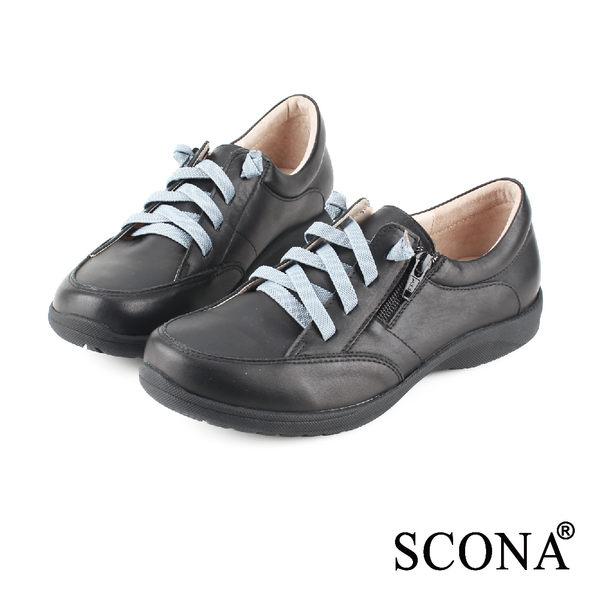 SCONA 全真皮 樂活舒適側拉休閒鞋 黑色 22414-1