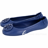 TORY BURCH Minnie Travel 琺瑯盾牌飾折疊平底鞋(寶藍色) 1720377-23