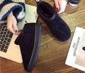 靴子 雪地靴女短筒韓版百搭學生加絨棉鞋低筒皮毛一體短靴  瑪麗蘇