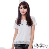 Victoria V領蕾絲剪接短袖T-女-白-V8532480