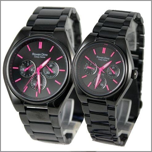 【萬年鐘錶】 Roven Dino 羅梵迪諾 楊丞琳代言 全黑紅字對錶 RD9803MB-RD9803LB