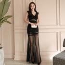 無袖洋裝小禮服 很仙的連身裙夏裝2021新款女韓版性感V領無袖修身氣場派對晚禮服
