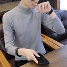 青少年半高領毛衣男式正韓修身打底毛衫男潮流冬季套頭加厚針織衫