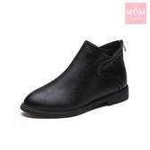 流線拼接縫線造型低跟短靴 黑 *MOM*