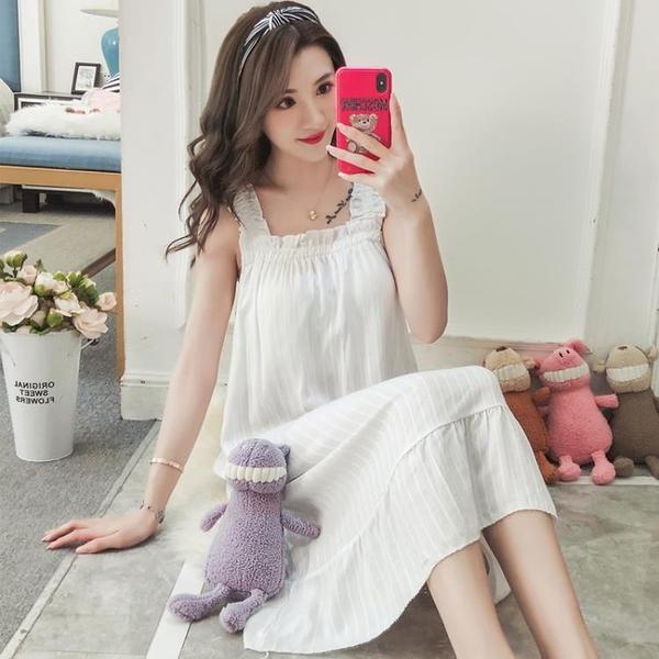 睡衣 吊帶棉質睡裙女夏季帶胸墊睡衣薄款性感韓版寬鬆學生可外穿家居服