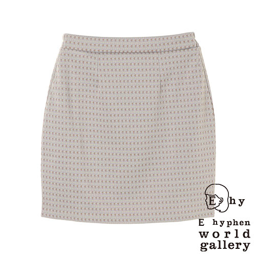 「Hot item」千鳥格紋鬆緊腰膝上窄裙 - E hyphen world gallery