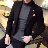 秋冬季加厚毛呢小西裝男修身韓版潮青年時尚休閒西服男裝外套單西