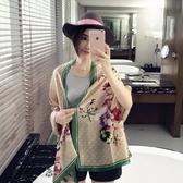雪紡絲巾-舒適防曬花朵邊框女披肩3色73hw6【時尚巴黎】