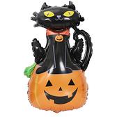 【BlueCat】萬聖節幽靈黑貓站在南瓜上鋁膜氣球 佈置