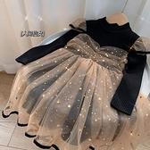 女童連衣裙冬季新款韓版中小童長袖網紗公主裙子兒童加厚毛衣長裙 怦然新品