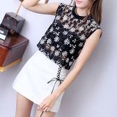夏季新款兩件套韓版復古無袖蕾絲打底衫女百搭修身顯瘦上衣   芊惠衣屋
