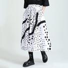 日系圓點印花荷葉邊裝飾裙子長裙中大尺碼【13-18-82079-21】ibella 艾貝拉