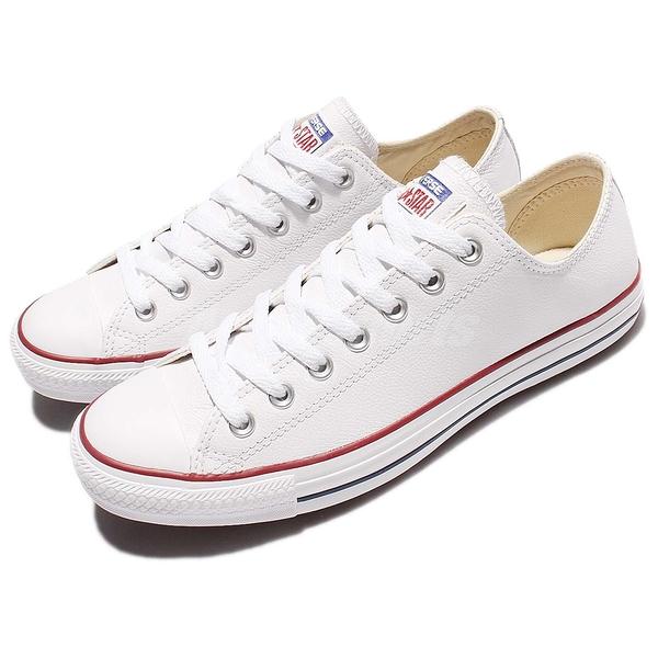Converse Chuck Taylor All Star Leather 白 低筒 皮革 休閒 男鞋 女鞋【ACS】 132173C