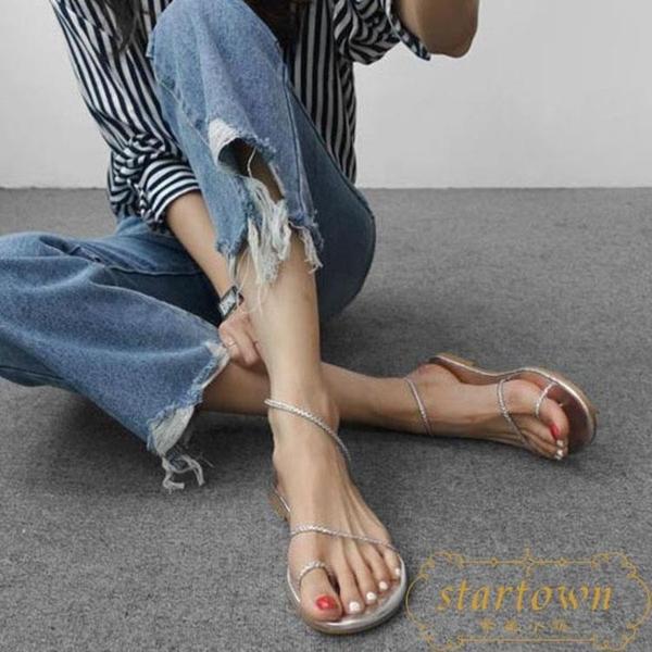 涼鞋女夏平底編織套趾簡約細帶羅馬沙灘鞋時尚平跟鞋【繁星小鎮】