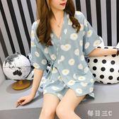 中大尺碼浴袍 日式和服女夏季短袖韓版清新學生薄款家居服兩件套裝 FR7866【每日三C】
