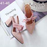 大尺碼女鞋-凱莉密碼-氣質絨面緞帶蝴蝶結尖頭粗高跟涼鞋8cm(41-46)【BB28-16】粉紅