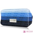 MOSCHINO 莫斯奇諾 藍色漸層LOGO化妝包(26X10X13.5CM)-公司貨【美麗購】