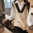 針織背心 秋冬復古無袖套頭毛衣馬甲女針織背心寬鬆v領韓版外穿學院風上衣 - 古梵希