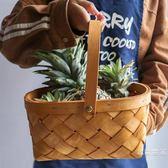 木片編織籃籃子藤編面包籃廚房果蔬菜收納筐籃長方形水果籃零食筐