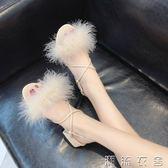 涼鞋新款女學生夏交叉綁帶一字扣女鞋時尚粗跟毛毛鞋羅馬鞋子  潮流衣舍