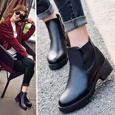 現貨出清英倫復古皮鞋粗跟馬丁靴短筒女靴雪地中跟棉靴子女鞋【蘇迪蔓】